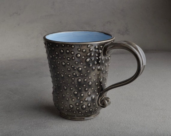 Dottie Mug: Light Blue and Clear Black Dottie Mug by Symmetrical Pottery