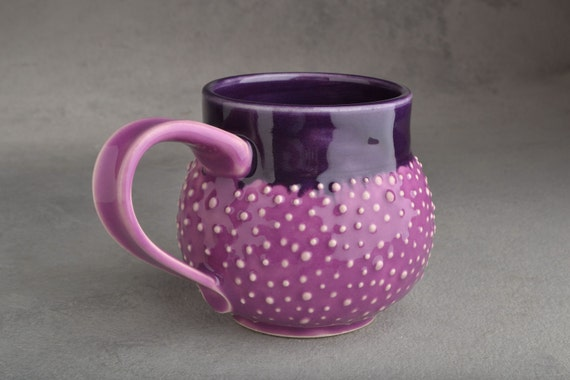 Dottie Mug: Orchid and Purple Stoneware Dottie Mug by Symmetrical Pottery