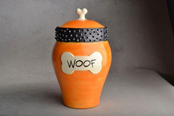 Dog Treat Jar Ready To Ship Orange Spiky Collar Pet Treat Jar by Symmetrical Pottery