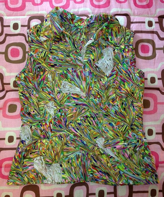 Marble Print Hand Made Woman's Medium Polyester Sleeveless Shirt