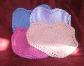 Valentine Heart Hand Knit Cotton Wash Cloth Set Face Cloth Dish Cloth