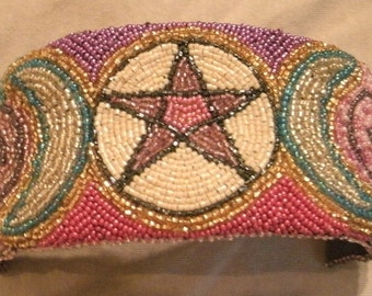 Purple, Pink, Cream, Multi Color Pentacle Pentagram Hand Bead Embroidered Cuff Bracelet