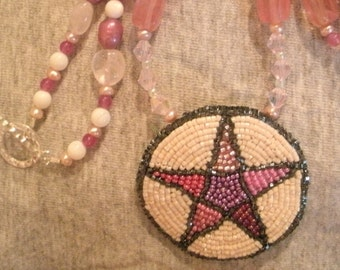 Pentagram Multi Color Hand Bead Embroidered Necklace with Fresh Water Pearls and Rose Quartz Beads