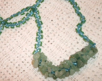 Aventurine Chip Blue and Aqua Seed Bead Hand Beaded Long Necklace