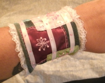 Denim and Lace and Ribbon Hand Embroidered Cuff Bracelet