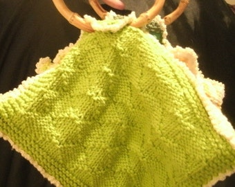 Green and Yellow Multi Color Hand Knit Purse Unique Four Sided Bag Handbag