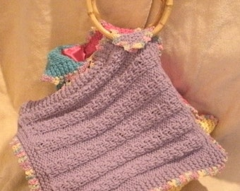 Pink Blue Purple and Yellow Hand Knit Diamond Shaped Fully Lined Purse