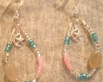 Pink Light Blue and Silver Moonstone Moon and Star Sterling Silver Beaded Dangle Earrings