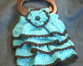 Turquoise Blue and Black Hand Crocheted Ruffle Purse Fully Lined