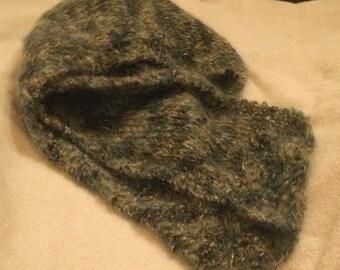 Blue Hand Knit Mohair Scarf