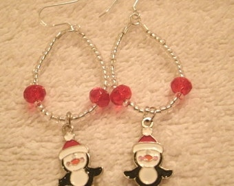 Penguin Charm Holiday Red Crystal Bead Dangle Earrings Handcrafted