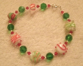Peppermint Candy Red and Green Holiday Lamp-work Bead Bracelet