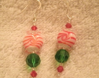 Holiday Peppermint Candy Lampwork Glass Bead Red and Green Crystal Dangle Earrings