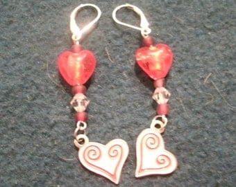 Valentine Glass Bead and Enamel Heart Charm and Crystal Dangle Earrings