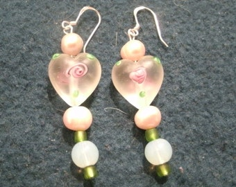 Valentine Pink Painted Glass Heart Bead and Pearl Dangle Earrings
