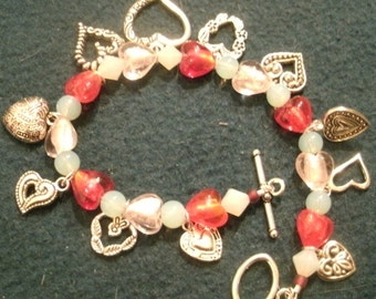 Valentine Pink and Red Hearts and Enamel Heart Charm Dangle Bracelet