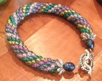 Pink Gold Green Blue Bead Crochet Bracelet
