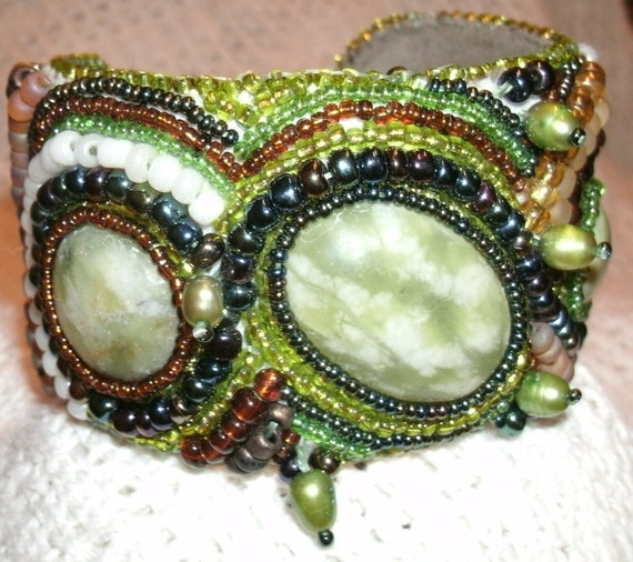 Green Serpentine Cabashon and Freshwater Pearl, Hand Bead Embroidered Cuff Bracelet