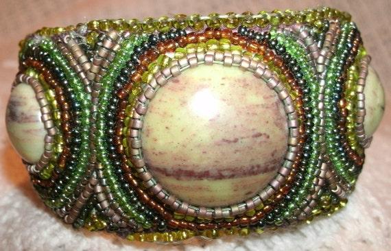 Serpentine Cabashon Cuff Bracelet