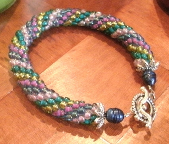 Pink Gold Green Blue Bead Crochet Bracelet
