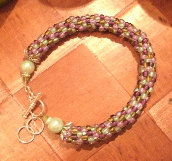 Mauve and Olive Bead Crochet Bracelet or Anklet