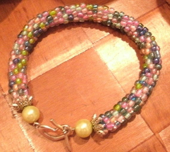 Pastel Bead Crochet Bracelet Colorful Handcrafted Boho