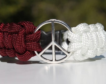 Two Color Peace Sign 550 Paracord Survival Strap Bracelet Anklet with Plastic Contoured Side Release Buckle