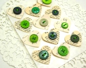 GREEN- HEART EMBELLiES...Dictionary and Shorthand- Button Embellishments