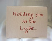 "Note card calligraphy ""Holding you in the Light"" (Quaker), red"