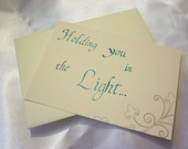"Note card calligraphy ""Holding you in the Light"" (Quaker), blue"