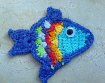 Multicolour Fish Applique Crochet PDF Pattern instant download