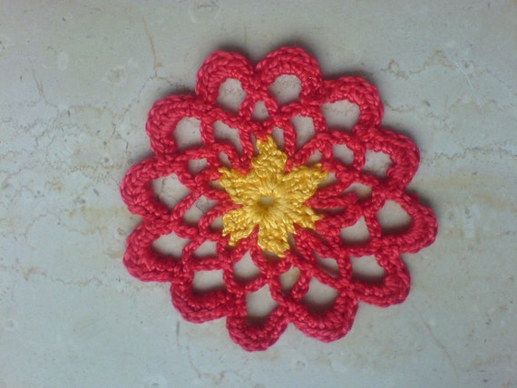 Crochet Flower Pattern Dahlia : Dahlia Scrapbooking and Applique Flower crochet pdf Pattern