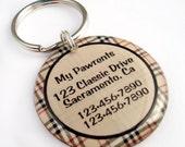 Pet ID Tag Dog ID - Tan Plaid Circle