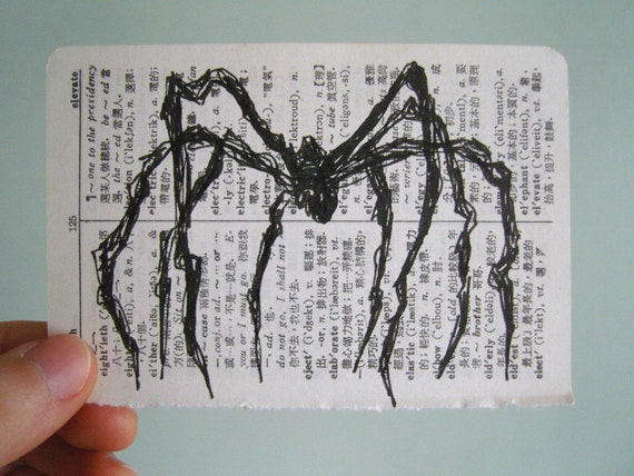 Louise Bourgeois Tiny (Maman) - original drawing on vintage dictionary