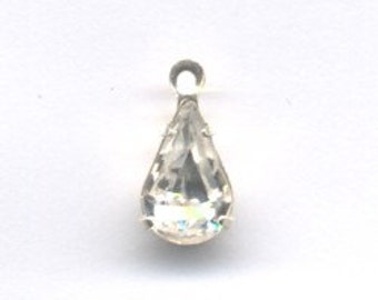Swarovski Sterling Silver Plate Crystal Pear Drop With Loop 10x6 mm  - Quantity 2