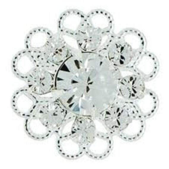 15mm Crystal Swarovski flower Crystal Sterling Silver Plated Filigree - qty 2
