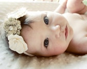 Baby Girl Ivory and Tan with Pearl Center Flowered Ivory Elastic Headband