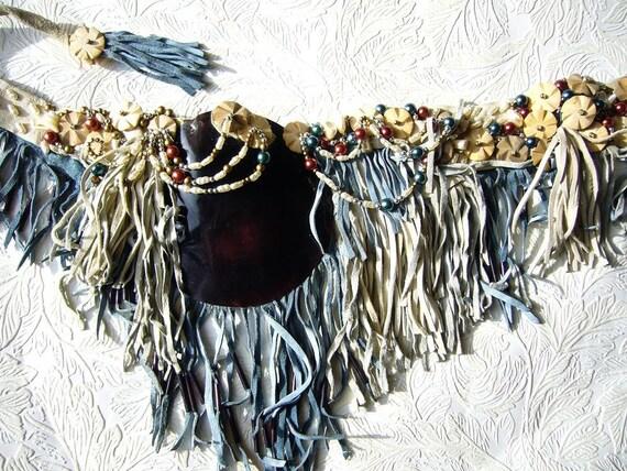 Memories of the Ocean Seashell and Lush Leather Fringe Beaded Belt