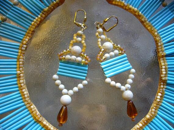Egyptian Inspired Turquoise Blue Vintage Bugle Bead Teardrop Bead Earrings