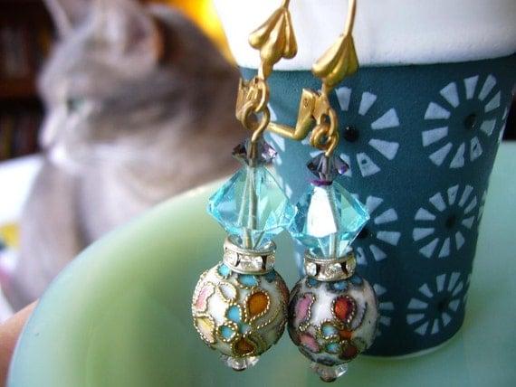 OOAK White Vintage Spring Flower Cloisonne Enamel and Cool Water Blue Crystal Earrings