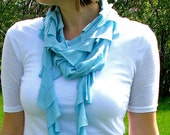 RESERVED for jb - Light Blue Jersey Ruffle Scarf
