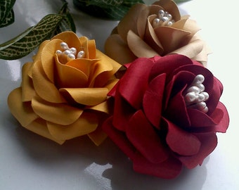 Handmade paper Flowers - Roses - Country kitchen Collection - Scrapbook Embellishments - Wedding - Table Decoration - Party Favors - DIY