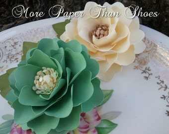 Paper Flowers - Weddings - Home Decor - Elizabeth Rose - Emerald and Ivory - Set of 50