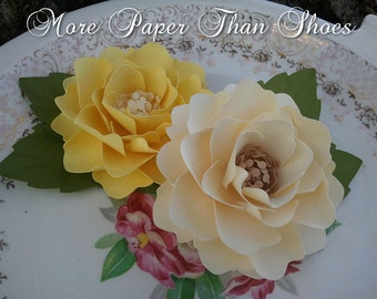 Paper Flowers - Weddings - Party Favors - Elizabeth Rose - Yellow and Ivory - Made To Order - SET OF 25