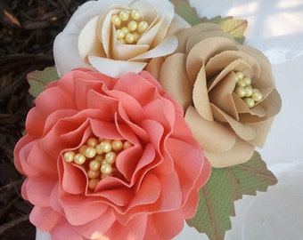 Corsages - Paper Flowers - Weddings - Bridal Shower - Baby Shower - Made To Order - Set of 6