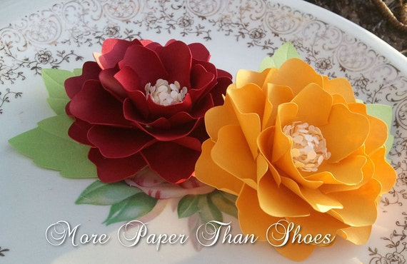 Paper Flowers - Weddings - Placecards - Elizabeth Rose - Crimson & Golden Yellow - Made To Order - SET OF 50