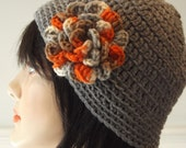 GREY Crocheted Hat Womens Beanie Cloche with Attached Flower