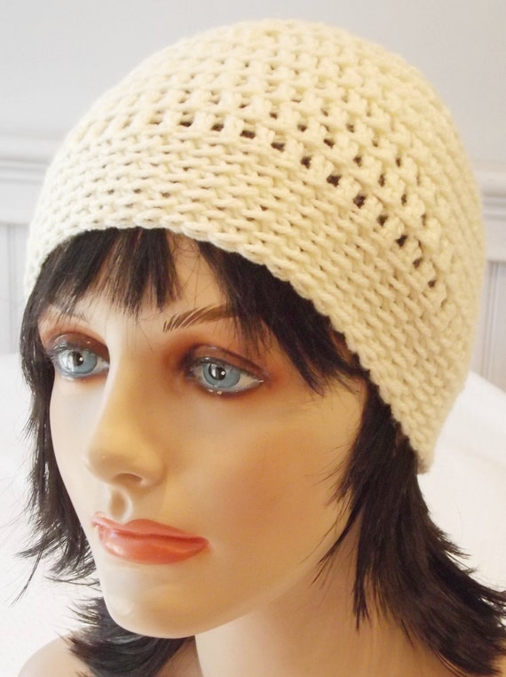 Ivory Crochet Beanie Hat - RESERVED for Alexis