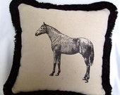 Horse Pillow - black and white - ON SALE