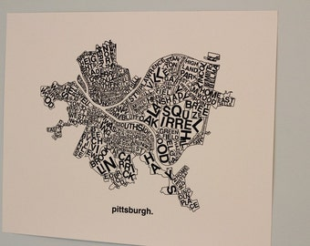 Pittsburgh Map Print : Black ink on white